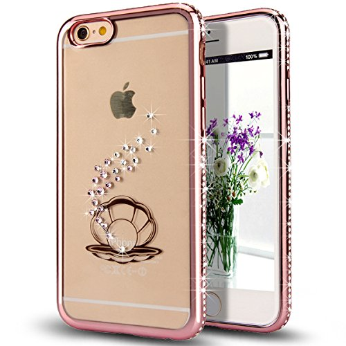 iPhone 6S Case,iPhone 6 Case,NSSTAR Rose Gloden Shell Pearl Bling Crystal Rhinestone Diamonds Clear Rubber Rose Plating Frame Transparent TPU Soft Silicone Bumper Case Cover for Apple iPhone 6/6S 4.7