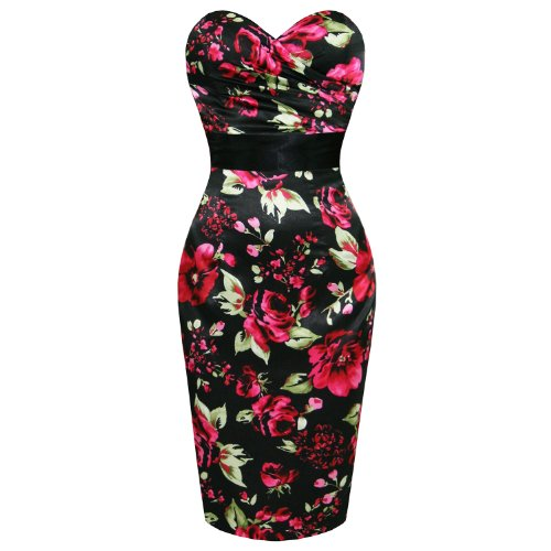 LADIES NEW BLACK SATIN FLORAL FITTED VINTAGE PENCIL EVENING COCKTAIL PARTY DRESS