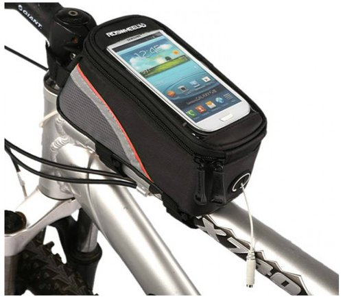 "Arctic Bicycle Cycling Frame Pannier Bag Front Top Tube Bag For 4.8"" Screen Cellphone Clear Pvc Window Pouch Abd Headset Earphone Cable Hole Packed"