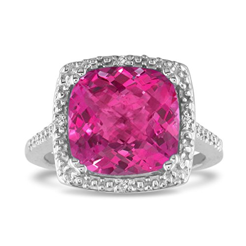 4Ct Pink Topaz And Diamond Ring, Sterling Silver