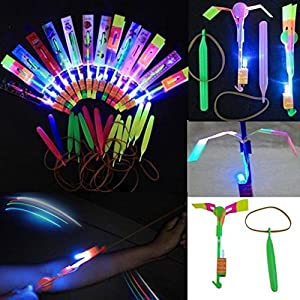 24pc Amazing Led Light Arrow Rocket Helicopter Flying Toy Party Fun Gift Elastic