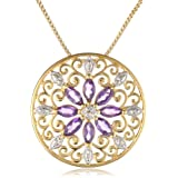 18k Yellow Gold Plated Sterling Silver African Amethyst and Diamond Accent Medallion Pendant Necklace, 18