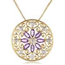 18k Yellow Gold Plated Sterling Silver African Amethyst and Diamond Accent Medallion Pendant Necklace 18