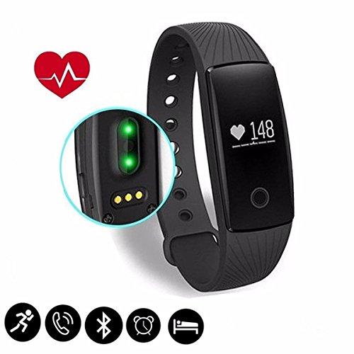 Fitness Tracker,CAMTOA ID107 Herzfrequenz Pulsuhr Aktivitätstracker Bluetooth Touch-Taste Wasserdicht IP65 Sport Armband Fitnessarmband mit Schrittzähler / Kalorienzähler / Schlaf-Monitor / Wecker / SMS Anrufe für iPhone IOS Android