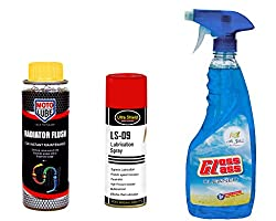 Combo of 3 Items - Moto Lube Radiator Flush 300 ml. & Ultra Shield Lubrication Spray 500 ml. & Auto Pearl Air Gloss Car Glass Cleaner 500 ml.