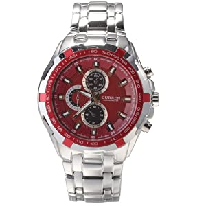 CURREN Red Stylish Quartz Movt Stainless Steel Watchband Mens Wrist Watch