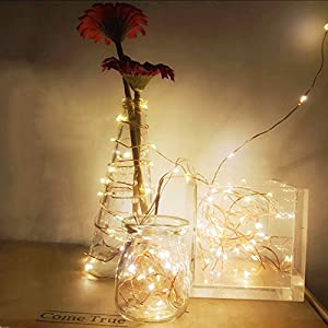 2 Set Fairy String Lights Battery Operated Waterproof YIHONG 8 Modes 50 LED String Lights 16.4FT Copper Wire Firefly Lights Remote Control (Warm White)