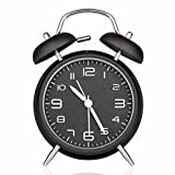 Drillpro 4 Silent Quartz Analog Twin Bell Alarm Clock With Night Light, Stereoscopic Dial - Battery Operated Loud Alarm Clock for Light & Heavy Sleepers-Battery Not Included Black