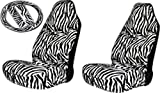 51WjSuLlKeL. SL160  New Premium Grade 5 Pieces Safari Zebra Print High Back Front Car Seat Covers & Steering Wheel Cover with Shoulder Pads Set Made By U.A.A. Inc.
