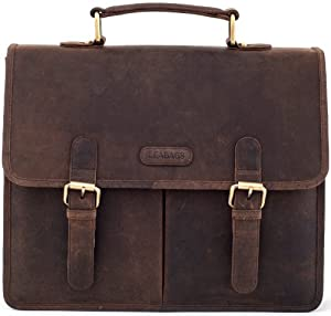 "LEABAGS - Unisex Leather Briefcase ""Oakland"" Retro Vintage Style Genuine Buffalo Leather Unisex Messenger College Office Laptop Bag"