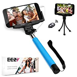 EEZ-Y Wired Selfie Stick Bundle w/ Flexible Tripod + Bluetooth Remote + Two Adjustable Phone Holders - Awesome Photography Tools for iPhone Samsung Sony LG Nexus Devices - Best Value Bundle (Blue)
