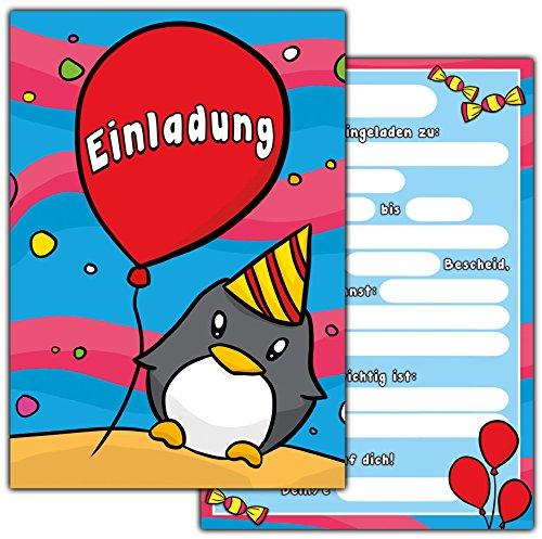 10 einladungskarten zum kindergeburtstag pinguin geburtstagseinladungen einladungen. Black Bedroom Furniture Sets. Home Design Ideas