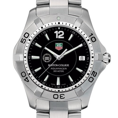 TAG HEUER watch:Boston College TAG Heuer Watch - Men's Steel Aquaracer with Black Dial at M.LaHart Images