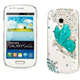 niceeshop(TM) Blue 3D Bling Crystal Diamond Butterfly Case Cover for Samsung Galaxy S3 i8190 Mini + Screen Protector