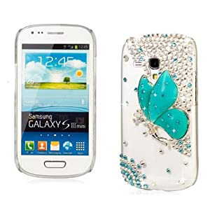 3D Transparent Bling Strass Hard Shell Case pour Samsung Galaxy S3 Mini I8190 avec le Papillon