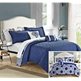 Chic Home 5 Piece Shams And Decor Pillow Quilt Set, King, Navy