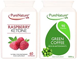 Rasperry Ketones + Green Coffee Bean Extracts 150 Pure Premium Quality Vegetarian Capsules FREE UK delivery