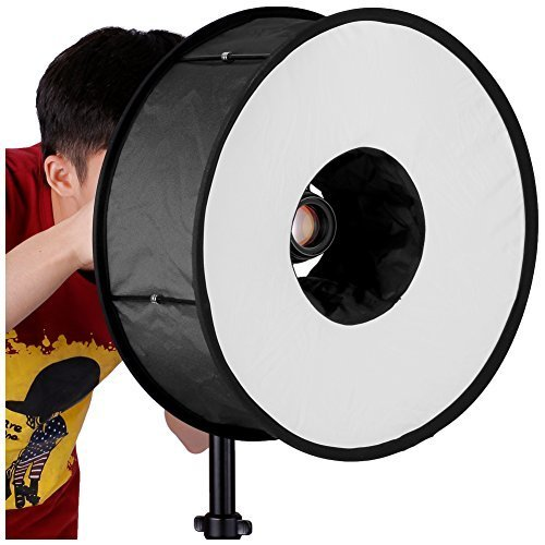 Neewer Round Universal Collapsible Magnetic Ring Flash Diffuser Soft Box 45cm/18″ for Macro and Portrait Photography