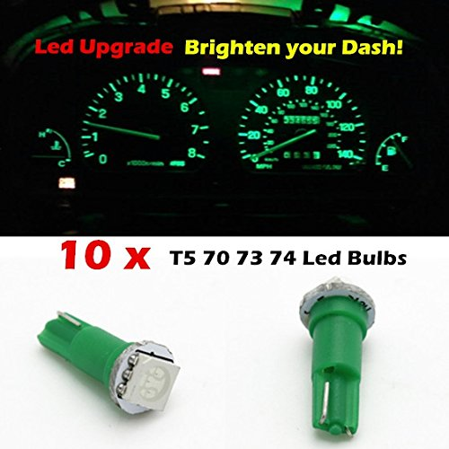 Partsam 10X T5 17 37 73 74 Wedge Instrument Dashboard Led Light Bulb Green For Mitsub For 1991-2003 Isuzu Rodeo