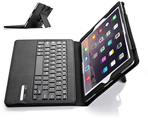 iPad Pro 9.7 Keyboard case, IVSO® APPLE iPad Pro 9.7 Case With Keyboard Ultra-Thin High Quality PU Leather DETACHABLE Bluetooth Keyboard Stand Case / Cover for APPLE iPad Pro 9.7 inch Tablet (Black)