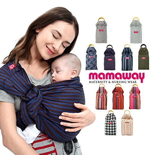 Mamaway Ring Sling Baby Carrier - One Size Fits All - Easy On Your Back - Comfort For Your Baby - Can Be Used For Different Positions - Breastfeeding Privacy - Blueberry Brownie