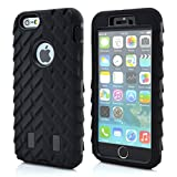 Meaci® Cellphone Case for Iphone 6 Plus 5.5 Inch Case 3in1 Tire Stripe Combo Hybrid Defender High Impact Body Armorbox Hard Pc&silicone Protective Bumper Case (Tire black)