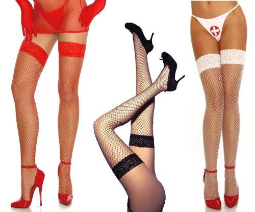 Amynetti Sexy Netzstrümpfe mit elastischem Spitzenbund Overknee Stockings Strümpfe Netz für Damen