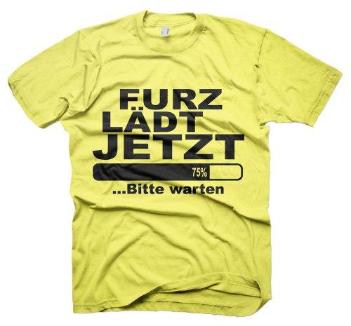 Lustige Coole Sprüche Fun T-Shirts-furz lädt jetzt-Herren lustiges geschenk mit Spaß und Humor tshirt-Gelb -Größe-Medium