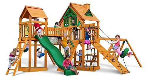 Gorillaplay sets Backyard Kids Children Playground Cedar Wood Pioneer Peak Treehouse Swing Set With Amber Posts