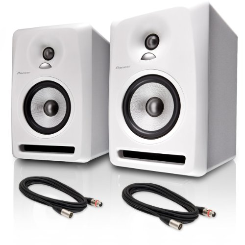 "Pioneer S-Dj50X 5"" Active Reference Dj Speakers, White Pair W/ Xlr Cables - Bundle"