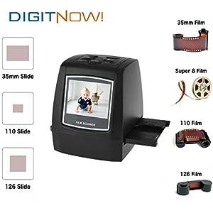 Scanner/NumériseurDigitnow haute résolution 22 MP tout-en-un - Convertit les films négatifs 35 mm, les diapositives 35 mm, les films à format 110, 126, 127 et Super 8 en archives JPEF numériques de 22 mégapixels - Aucun ordinateur ou logiciel n'est nécessaire à son fonctionnement - Possède une sortie téléviseur LCD 2.4
