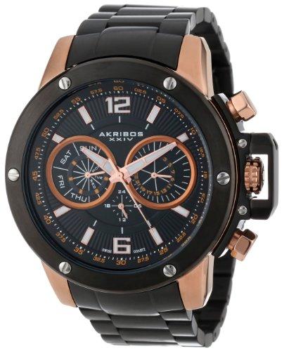 Akribos Xxiv Men'S Ak604Rg Conqueror Multi-Function Stainless Steel Swiss Quartz Bracelet Watch