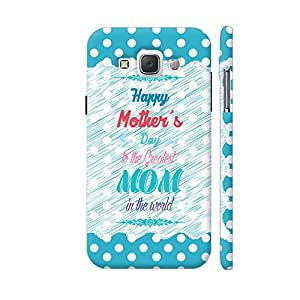 Colorpur The Greatest Mom In The World On Blue Polka Dots Designer Mobile Phone Case Back Cover For Samsung Galaxy E5   Artist: Designer Chennai