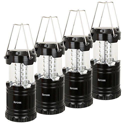 4-Pack 30 LED Lantern - iKross Collapsible Outdoor Camping Lantern with Bright 60 Lumens output - Black (Heat Pillow Pet compare prices)