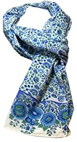 Anokhi 100% Cotton Voile Bitsy Blue Fashion Scarf
