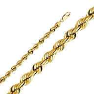 14k Yellow Gold Men's 8mm Rope Diamond Cut Solid Chain Necklace with Lobster Claw Clasp