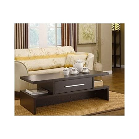Dark Brown Coffee Table for Living Room with Storage Drawer
