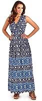 Dazzling Ladies 100% Cotton Aztec Print Sleeveless Maxi Summer Beach Holiday Dress, Black or Blue