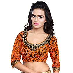 Try n Get's Orange Color Gamti work Fashionable designer Blouse Piece