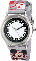 Disney Kids' W000289 Mickey Mouse Stainless Steel Printed Strap Watch