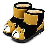 (ダダウン)DADAWEN  子供ブーツ スノーブーツ 男女兼用 男の子 女の子 ショートブーツ 熊柄 可愛い 裏ボア 保温 防寒 雪の日 柔らかい 滑り止め 三五七 通学 通園 発表式 結婚式 イエロー 15CM