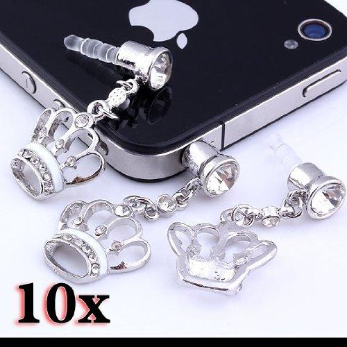 Top Plaza 1/5/10 Pcs 3.5Mm Dustproof Earphone Plug Stopper Anti Dust Cap Dock Cover Crown Crystal (White 10Pcs)