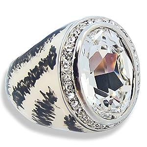 Ring mit SWAROVSKI ELEMENTS - Versilbert - Emaille - Farbe Weiss - Crystal - in Etui - Gr. 56