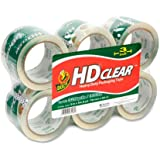Duck Brand HD Clear High Performance Packaging Tape, 3-Inch x 54.6-Yard Roll, Crystal Clear, 6 Rolls (307352)
