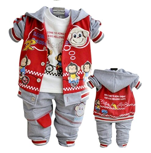 Sopo Baby Boy 3 Piece Outfits (Monkey Hooed Jacket, Tshirt, Pants) Red 24M front-1046603