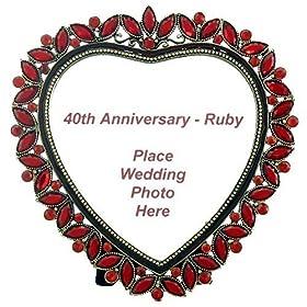 40th Anniversary Ruby Heart Frame - 40th Ruby Wedding Anniversary Gift