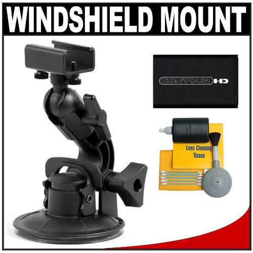 Contour Windshield Mount with Battery + Cleaning Kit for Contour HD & Contour GPS Wearable Video Camcorders