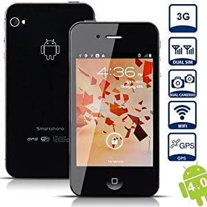 Unlocked Quad Band Dual Sim Android 4.0 OS With 3.5 Inch Capacitive Touch Screen 3G Smart Phone- AT&T, T-mobile, H20, Simple mobile and other GSM networks (Black)