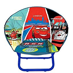Cars 2 Mini Saucer Chairs Multicolor Toddler Kids Seat Portable Character Comfortable Collapsible Sturdy Metal Frame Polyester Cushioned Seat Playroom Easy Storage Bedroom (Pack of Two)