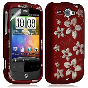 housse coque rigide pour HTC Wildfire G8 motif fleurs couleur rouge + film ecran